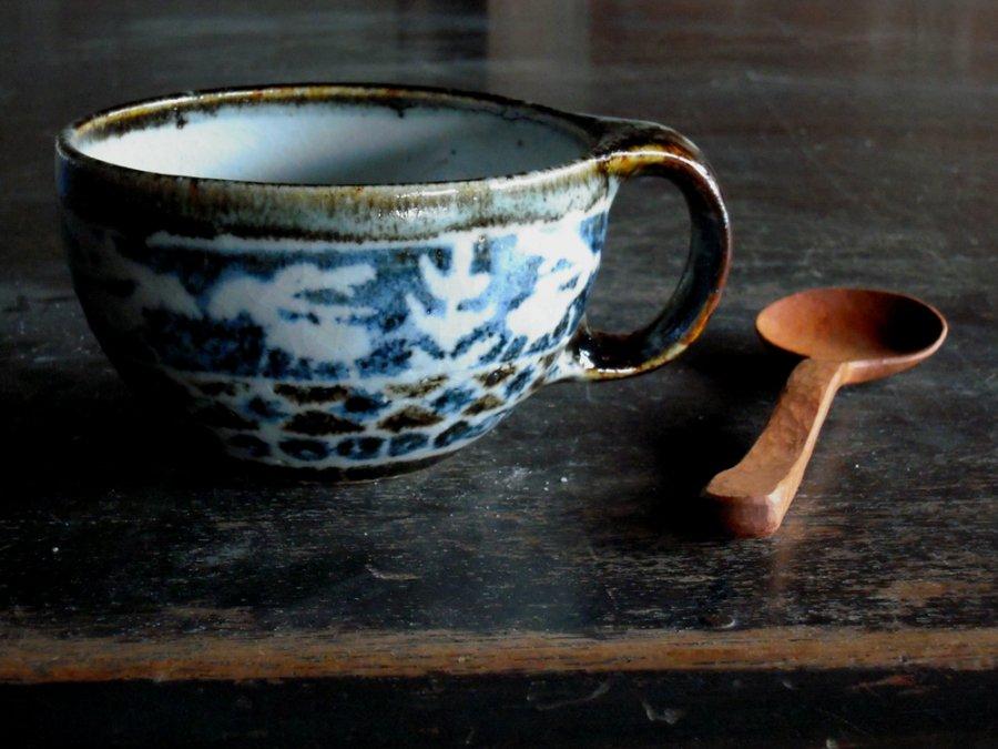 セータ柄のマグと木のスプーン 1  /  JIN×奥村陶房