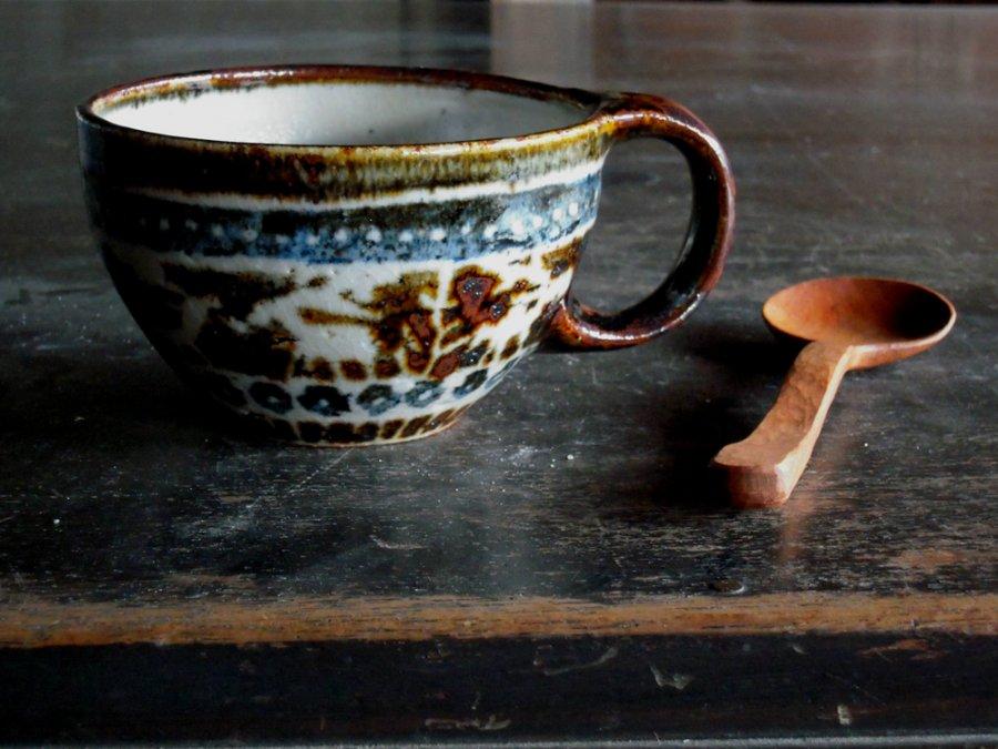 セータ柄のマグと木のスプーン 2  /  JIN×奥村陶房
