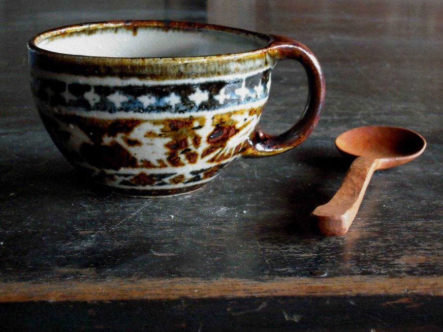 セータ柄のマグと木のスプーン 4  /  JIN×奥村陶房