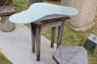 六方石テーブル(木脚)270×400×H700