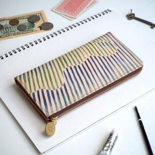 L字ファスナー長財布(オーロラ ストライプ)