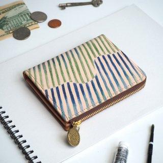 Lウォレット  L字ファスナー財布(オーロラ ストライプ)