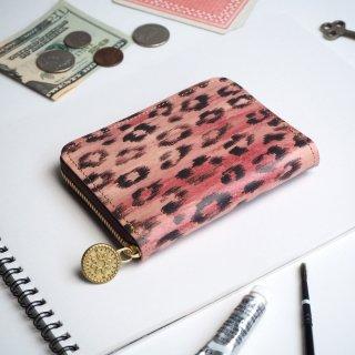 ラウンドファスナー コンパクト財布(テガキ レオパード)