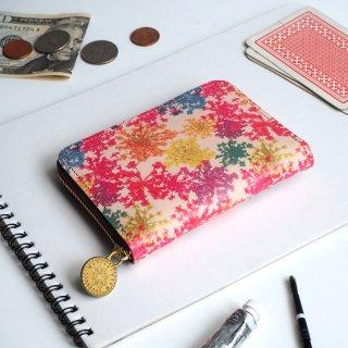 ラウンドファスナー コンパクト財布(ビビット レースフラワー)