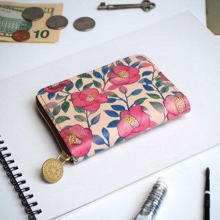 ラウンドファスナー コンパクト財布(ツバキ)