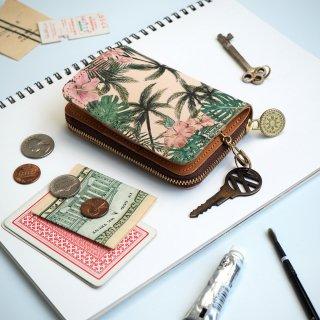 キーウォレット [ ミニ 財布 + キーケース ](トロピカル パーム)