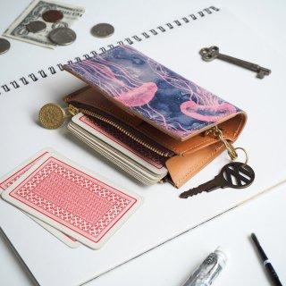 片マチ ファスナーポケット付キーケース(ドリーミー ジェリーフィッシュ)