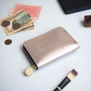 ラウンドファスナー コンパクト 財布(ペイント シルバー)