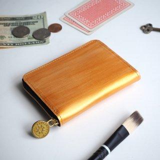 ラウンドファスナー コンパクト 財布(ペイント ゴールド)