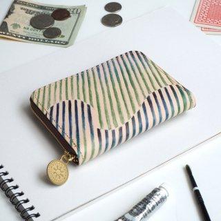 ラウンドファスナー コンパクト財布(オーロラ ストライプ)