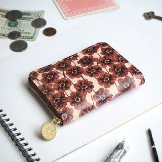 ラウンドファスナー コンパクト財布(チョコレートコスモス)