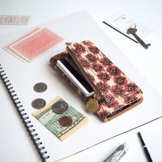 片マチ ファスナーポケット付 アイフォンケース(チョコレートコスモス)
