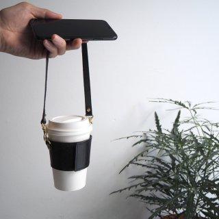 ストラップ付コーヒーカップスリーブ (ブラック) サイズ調節可能♪