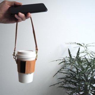 ストラップ付コーヒーカップスリーブ (ビスケット ベージュ) サイズ調節可能♪