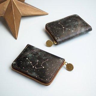 ラウンドファスナー コンパクト 財布(12星座の星空)