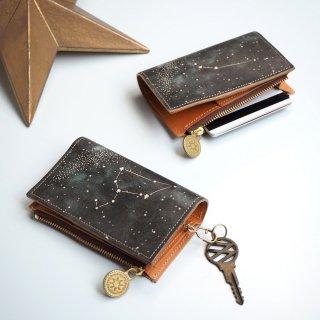 片マチ ファスナーポケット付キーケース(12星座の星空)