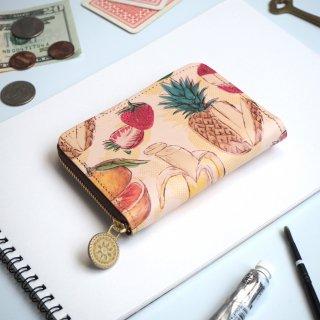 ラウンドファスナー コンパクト財布(フルーツミックスジュース)