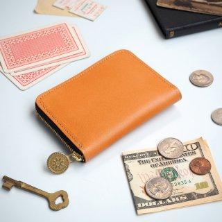 ラウンドファスナー コンパクト 財布(ビスケット ベージュ)