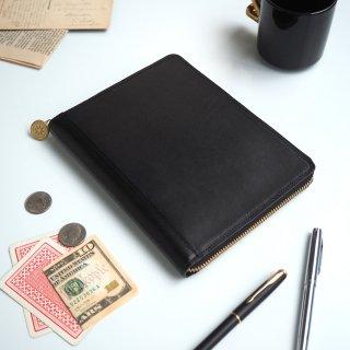 B6判 ラウンドファスナー 手帳カバー(ブラック)