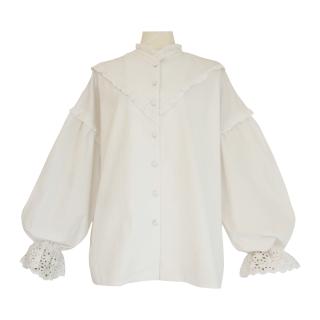 pin tuck frill blouse(white)