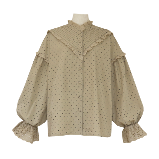 pin tuck frill blouse(beige dot)