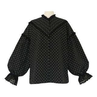 pin tuck frill blouse(black dot)