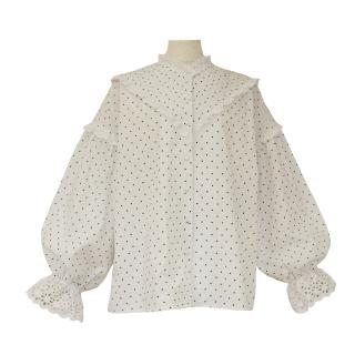 pin tuck frill blouse(white dot)