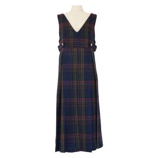 front pleats dress(tartan navy)