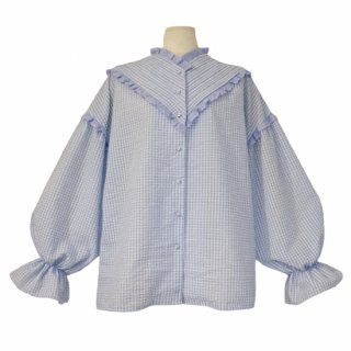 pin tuck frill blouse(gingham blue)