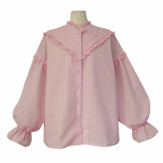 pin tuck frill blouse(gingham pink)