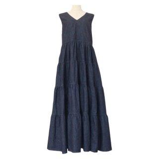 denim tiered dress(indigo)