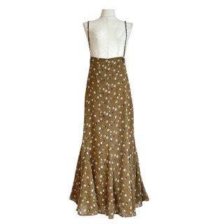 dot flower tulle salopette skirt(brown)