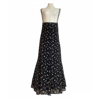 dot flower tulle salopette skirt(black)