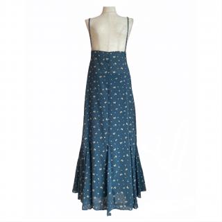 dot flower tulle salopette skirt(blue)