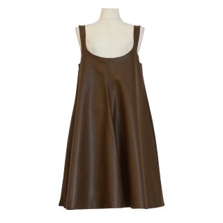 eco leather flare op(brown)