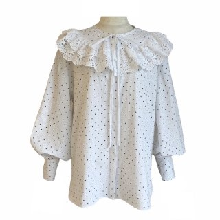 removable collar blouse(dot white)