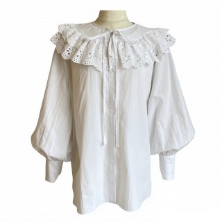 removable collar blouse(white)