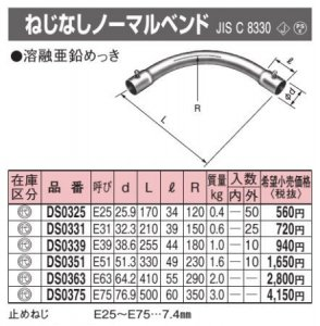 パナソニック DS0351 ねじなしノーマルベンド E51 亜鉛メッキ鋼板