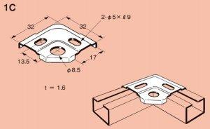 ネグロス 1C ネジック 1R用枠組金具 電気亜鉛めっき(C)
