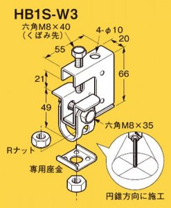 ネグロス HB1S-W3 ネグロック 吊りボルト支持金具 一般形鋼・リップみぞ形鋼用 電気亜鉛めっき(C)
