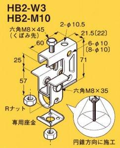 ネグロス HB2-W3 ネグロック 吊りボルト支持金具 一般形鋼・リップみぞ形鋼用 電気亜鉛めっき(C)