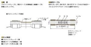 古河電工 PS-CA120X22 低圧ケーブル接続部用 プルフィットチューブ・スリーブキット 適用導体22平方mm