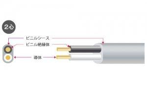 矢崎 VVF2.6-2C 600Vビニル絶縁ビニルシースケーブル平型 2心 2.6mm 100m