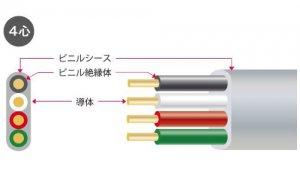 矢崎 VVF2.0-4C 600Vビニル絶縁ビニルシースケーブル平型 4心 2.0mm 100m