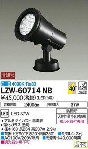 大光電機 LZW-60714NB LEDアウトドアハイパワースポットライト 非調光 白色 4000K 広角形 黒塗装