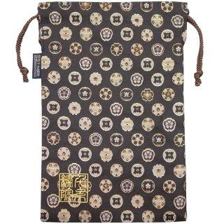 【真鍮ベル付き】千糸繍院 西陣織 金襴 巾着袋(裏地付き) 唐花文様/濃茶 Lサイズ