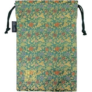 【真鍮ベル付き】千糸繍院 西陣織 金襴 巾着袋(裏地付き) 唐花草/翠色 Lサイズ
