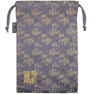 【真鍮ベル付き】千糸繍院 西陣織 金襴 巾着袋(裏地付き) 金鳳凰/褐色 Lサイズ