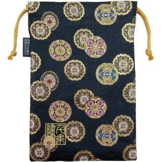 【真鍮ベル付き】千糸繍院 西陣織 金襴 巾着袋(裏地付き) 金丸紋/黒色 Lサイズ