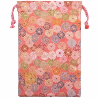 【真鍮ベル付き】千糸繍院 西陣織 金襴 巾着袋(裏地付き) 朱菊爛漫 Mサイズ